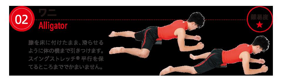 ワニ  膝を床に付けたまま、滑らせるように体の横まで引きつけます。スイングストレッチ®平行を保てるところまででかまいません。